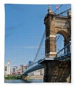 Roebling Bridge To Cincinnati Fleece Blanket