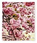 Romantic Cherry Blossoms Fleece Blanket