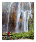 Romantic Scenery By The Waterfall Fleece Blanket