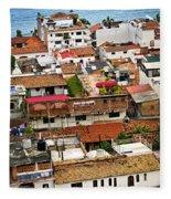 Rooftops In Puerto Vallarta Mexico Fleece Blanket