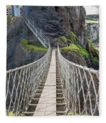 Rope Bridge At Carrick-a-rede In Northern Island Fleece Blanket