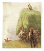 Roping The Wagon Fleece Blanket