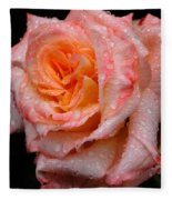 Rose And Raindrops On Black Fleece Blanket