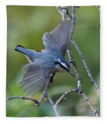 Rose Breasted Nuthatch Flying Fleece Blanket