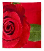 Rose Flower Wet 1 B Fleece Blanket