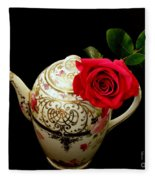 Rose With China Teapot Fleece Blanket