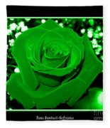 Rose With Green Coloring Added Fleece Blanket