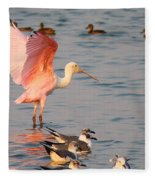 Roseate Spoonbill At The Bay Fleece Blanket
