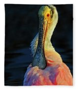 Roseate Spoonbill Preening Fleece Blanket