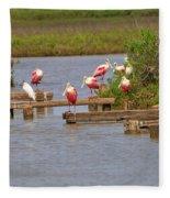 Roseate Spoonbills And Snowy Egrets Fleece Blanket