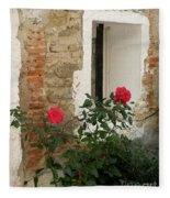 Roses And Antiquity  Fleece Blanket