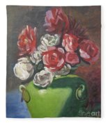 Roses And Green Vase Fleece Blanket