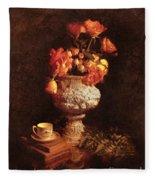 Roses In Urn Fleece Blanket