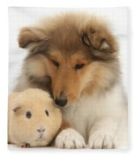 Rough Collie Pup And Yellow Guinea Pig Fleece Blanket