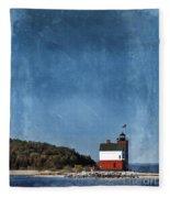 Round Island Lighthouse In Michigan Fleece Blanket