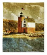 Round Island Lighthouse Fleece Blanket