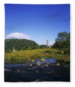Round Tower And River In The Forest Fleece Blanket