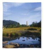 Round Tower In The Forest Glendalough Fleece Blanket