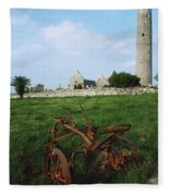 Round Tower, Kilmacduagh Near Gort, Co Fleece Blanket