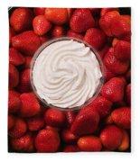 Round Tray Of Strawberries  Fleece Blanket