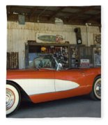 Route 66 Corvette Fleece Blanket
