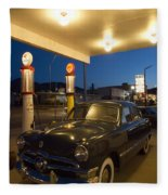 Route 66 Garage Scene Fleece Blanket