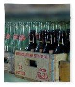 Route 66 Odell Il Gas Station Cases Of Pop Bottles Digital Art Fleece Blanket