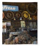 Route 66 Vintage Garage Fleece Blanket