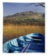 Row Boat Amongst Reeds On A Lake Fleece Blanket