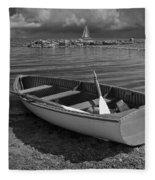 Row Boat On The Shore Of Lake Ontario In Toronto Fleece Blanket