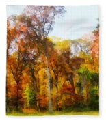 Row Of Autumn Trees Fleece Blanket