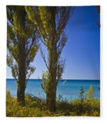 Row Of Cypress Trees At Point Betsie In Michigan No.0924 Fleece Blanket