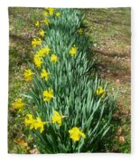 Row Of Daffodils Fleece Blanket