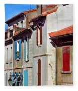 Row Of Houses In Arles Provence Fleece Blanket