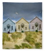 Row Of Pastel Colored Beach Cottages Fleece Blanket