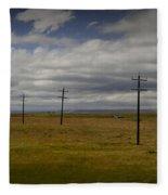 Row Of Utility Poles On The Prairie Fleece Blanket