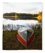 Rowboats At Jade Lake In Northern Saskatchewan Fleece Blanket