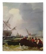 Rowing Boat Going To The Aid Of A Man-o'-war In A Storm Fleece Blanket