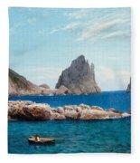 Rowing Off The Rocks Fleece Blanket