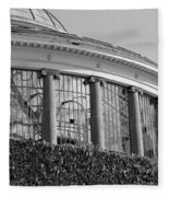 Royal Conservatory In Brussels - Black And White Fleece Blanket