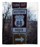 Rt 66 Il Turn Out Signage Fleece Blanket