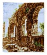 Ruins Of Roman Aqueduct, 18th Century Fleece Blanket
