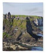 Ruins On Coastal Cliff Fleece Blanket