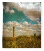 Rural Barbed Wire Fence Fleece Blanket