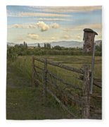 Rural Birdhouse On Fence Fleece Blanket