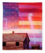 Rural Rustic America Storm Fleece Blanket