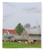 Rural Vermont Farm Scene Fleece Blanket