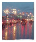 Rush Hour In The Rain Fleece Blanket