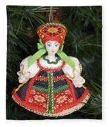 Russian Folk Ornament Fleece Blanket