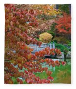 Rust Colored Leaves Over Autumn Pond Fleece Blanket